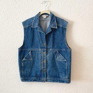 80s Jean Vest Womens Denim Top Button Up Large